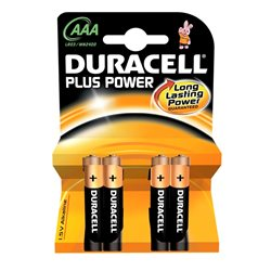 Pile Duracell Plus power MN2400 AAA 1.5V confezione 4 pezzi 017641