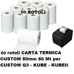 60 rotoli CARTA TERMICA CUSTOM 80MM 80MT Q3-KUBE-KUBEII