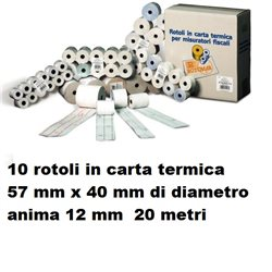 10 rotoli in carta termica 57 mm x 40 mm di diametro anima 12 mm 20 metri