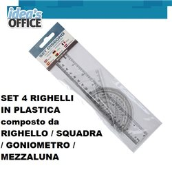 SET 4 RIGHELLI IN PLASTICA composto da RIGHELLO / SQUADRA / GONIOMETRO / MEZZALUNA