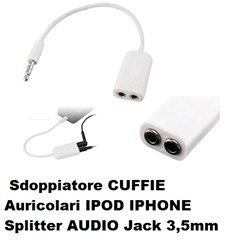 Sdoppiatore CUFFIE Auricolari IPOD IPHONE Splitter AUDIO Jack 3,5mm AUX