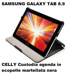 CELLY Custodia agenda per Galaxy Tab 8.9 in ecopelle martellata nera