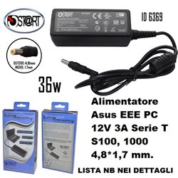 Alimentatore ASUS EEE pc 12V 3A serie T , S100 , 1000 4,8*1,7 mm, Start