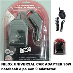 NILOX UNIVERSAL CAR ADAPTER 90W notebook e pc 9 PUNTE INTERCAMBIABILI