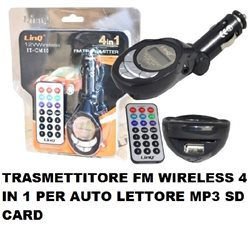 TRASMETTITORE FM WIRELESS 4 IN 1 PER AUTO LETTORE MP3 SD CARD LINQ IT-CM10