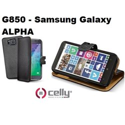 CELLY custodia Samsung Galaxy ALPHA G850 -a portafoglio nera con cover staccabile in ecopelle nera