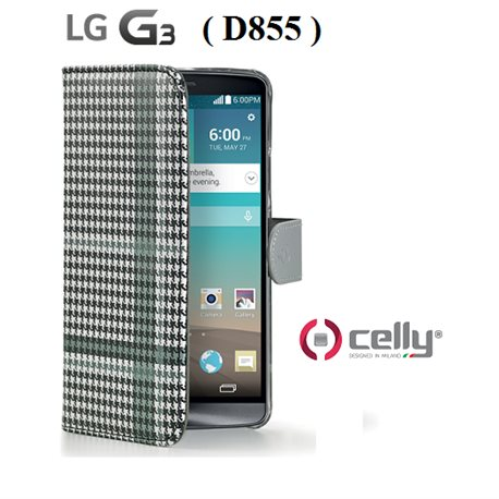 CELLY custodia per D855 LG G3 Wally Pied de Poule