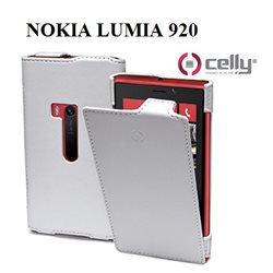 CELLY Custodia Nokia Lumia 920 Custodia in Pelle con Flip Verticale Bianco