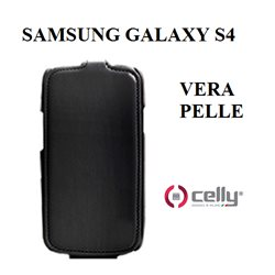 i9500 - Samsung Galaxy S4 custodia CELLY in vera pelle nera con scocca rigida posteriore