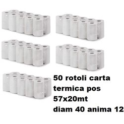 50 rotoli carta termica SABAPLUS per pos e carte 57mm x 20 mt -diametro 40mm - anima 12mm