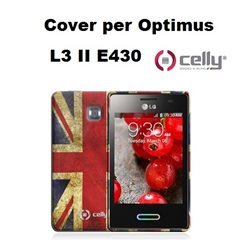 CELLY cover Optimus LG L3 II E430 vintage UK in TPU + SCREEN PROTECTOR