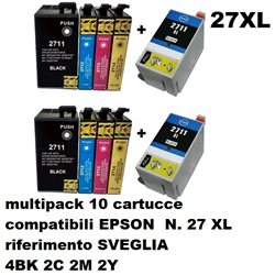 multipack 10 cartucce NON ORIGINALI EPSON N. 27 XL SVEGLIA per workforce WF3620DWF, WF3640DTWF, WF7110DTW